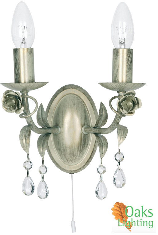 Oaks Lighting Catania Twin Wall Light, Cream Gold - 1207/2 CG from Easy Lighting