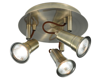 Searchlight Eros 3 Light Plate Spotlight, Antique Brass Finish - 1223AB