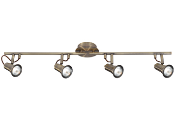 Searchlight Eros 4 Light Bar Spotlight, Antique Brass Finish - 1224AB