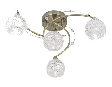 Oaks Lighting Pesaro 4 Light Semi Flush Ceiling Light, Antique Brass Finish With Glass Shades - 1267/4 AB
