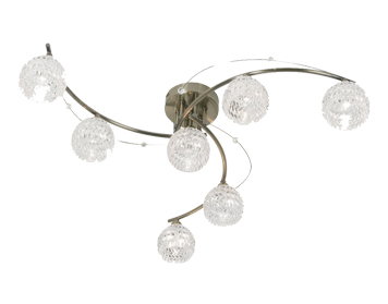 Oaks Lighting Pesaro 7 Light Semi Flush Ceiling Light, Antique Brass Finish With Glass Shades - 1267/7 AB