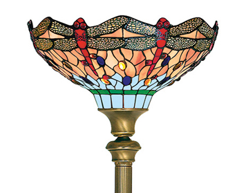 Searchlight Dragonfly 1 Light Tiffany Floor Lamp, Antique Brass Finish - 1285