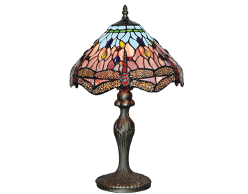 Searchlight Dragonfly 1 Light Tiffany Table Lamp, Antique Brass Finish - 1287