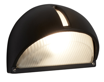 Searchlight 1 Light Half Moon Outdoor Wall Light, Black Aluminium Finish - 130