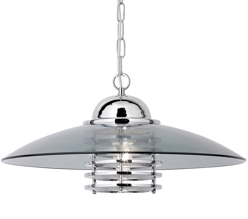 Searchlight Hattie 1 Light Pendant Ceiling Chrome Finish With Smoked Glass Shade 1300cc