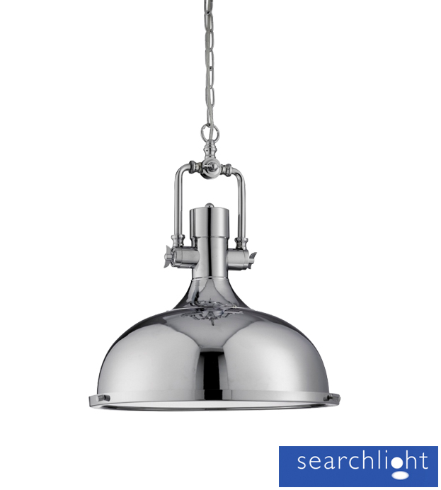 Searchlight Industrial Ceiling Pendant Light Chrome