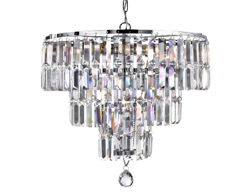 Searchlight Empire 5 Light Pendant Ceiling Light, Chrome Finish With Bevelled Crystal Coffin Drops - 1375-5CC
