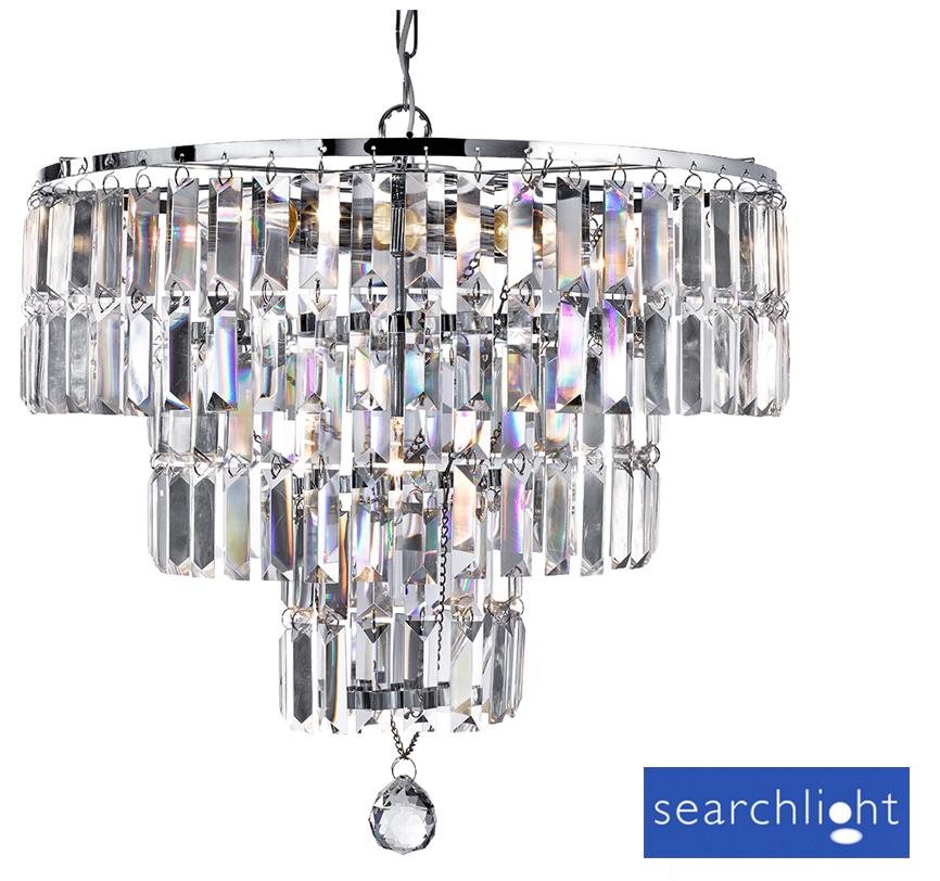 Searchlight Empire 5 Light Crystal Pendant Ceiling Chandelier Fixture - 1375-5CC  sc 1 st  Easy Lighting & Searchlight Empire 5 Light Crystal Pendant Ceiling Chandelier ... azcodes.com