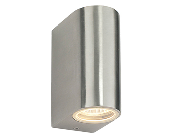 Stainless steel outdoor wall lights from easy lighting endon doron ip44 2 light outdoor wall light brushed alloy clear glass aloadofball Gallery
