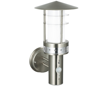 Endon Pagoda PIR 1 Light Wall, Brushed Stainless Steel & Frosted Plastic Finish - 13924