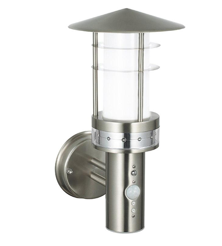 Endon Pagoda PIR LED IP44 1 Light Outdoor Wall Light, Brushed Stainless Steel & Frosted ...