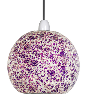 Oaks Lighting 'Faro' Non-Electric Ceiling Pendant, Purple & White Glass - 1401 PW
