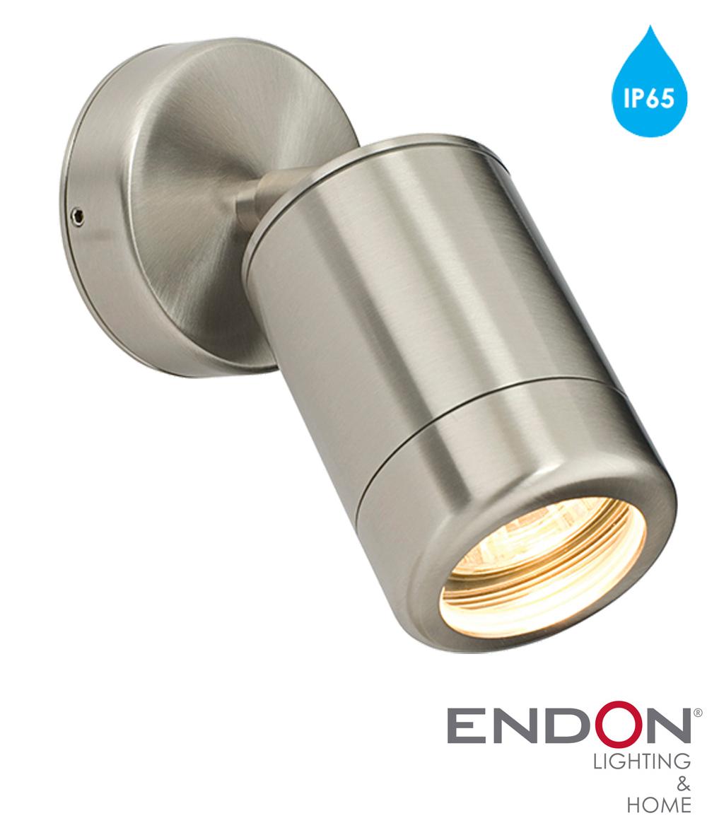 Endon 39 Atlantis 39 Ip65 1 Light Outdoor Spot Wall Light Marine Grade Brushed Stainless Steel