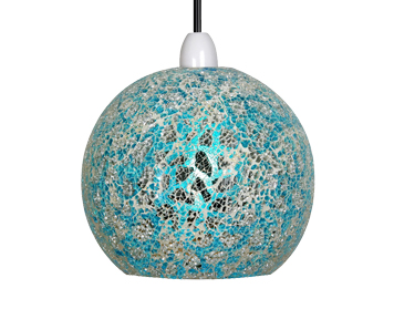 Oaks Lighting Faro Non-Electric Ceiling Pendant, Blue & Silver Glass Finish - 1401 BS