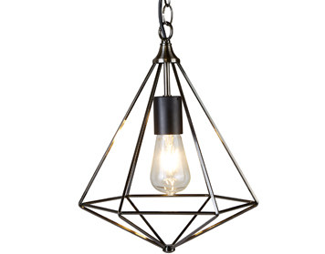 Searchlight Diamond 1 Light Pendant Ceiling Light, Antique Silver Finish - 1441SI