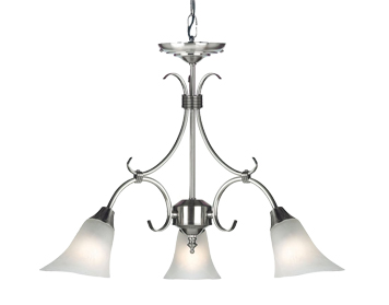 Endon Hardwick 3 Light Ceiling Pendant, Antique Silver Finish With Frosted Glass - 144-3AS
