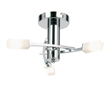 Endon Havana 3 Light Semi Flush Ceiling Fitting, Chrome Plate Finish With Acid Etched Glass - 146-3CH