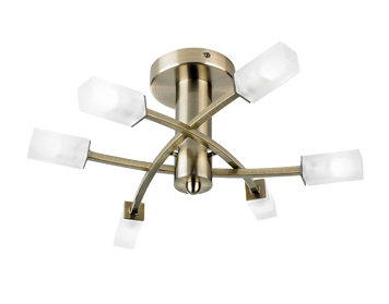 Endon Havana 6 Light Semi Flush Ceiling Fitting, Antique Brass Finish With Acid Etched Glass - 146-6AB