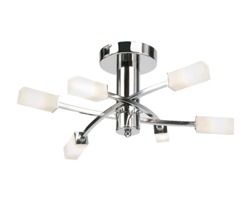 Endon Havana 6 Light Semi Flush Ceiling Fitting, Chrome Plate Finish With Acid Etched Glass - 146-6CH