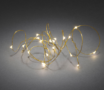 Konstsmide Warm White LED Christmas Lights On Brass Wire, Set Of 20 - 1460-180