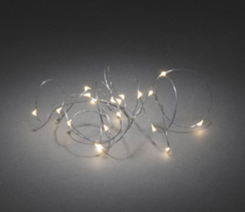 Konstsmide Warm White LED Christmas Lights On Silver Wire, Set Of 20 - 1460-180