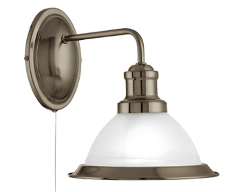 Searchlight Bistro 1 Light Industrial Switched Wall Light, Antique Brass Finish With Marble Glass Shade - 1481AB