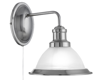 Searchlight Bistro 1 Light Industrial Switched Wall Light, Satin Silver Finish With Marble Glass Shade - 1481SS