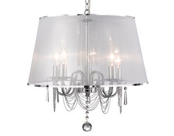 Searchlight Venetian 5 Light Ceiling Chrome Finish With Viole Shade Chain Link Trim