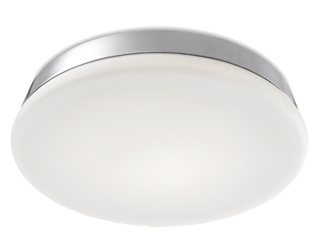 Leds C4 Circle Flush Bathroom Ceiling Light, Chrome Finish With Opal White Diffuser - 15-6429-21-F9