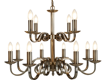 Searchlight Ricmond 12 Light Ceiling Light, Antique Brass Finish With Scroll Arms - 15012-12AB
