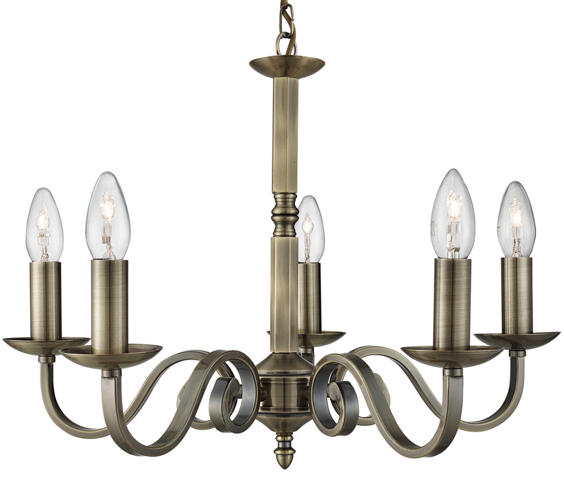 Searchlight Richmond 5 Light Ceiling Light Antique Brass