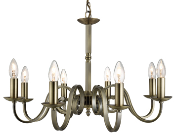 Searchlight Richmond 8 Light Ceiling Light, Antique Brass Finish - 1508-8AB