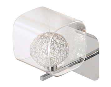 Oaks Lighting Lisbon Single Wall Light, Chrome Finish With Glass Shade - 1518/1 CH