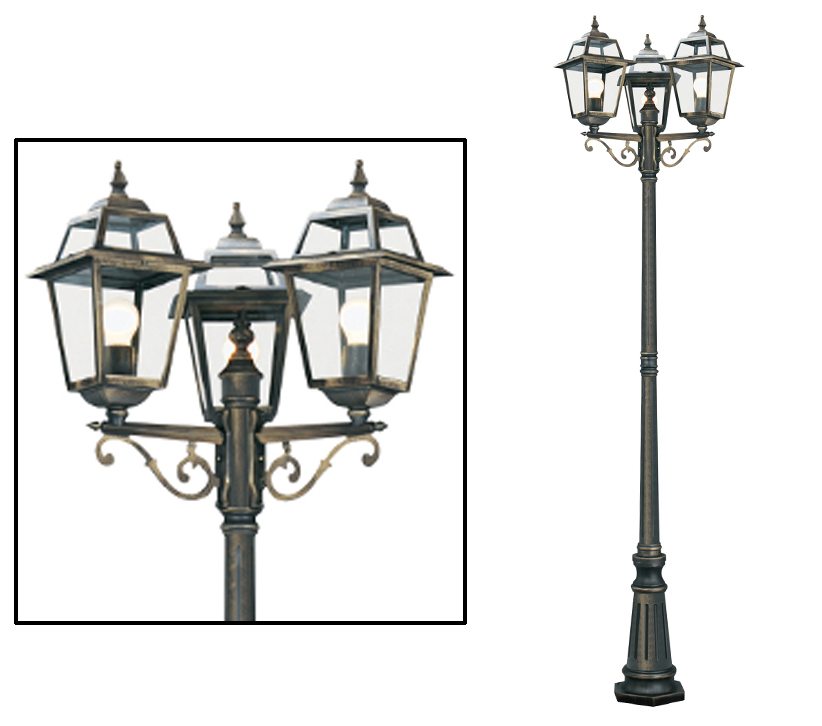 Searchlight New Orleans 3 Light Outdoor Lamp Post Black