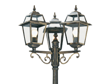 Searchlight New Orleans 3 Light Outdoor Lamp Post, Black & Gold Finish - 1528-3