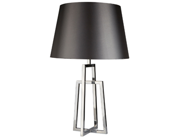 Searchlight York 1 Light Table Lamp, Chrome Crossed Frame Base With Black Tapered Shade - 1533CC-1