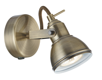 Searchlight Focus 1 Light Switched Spotlight, Antique Brass Finish - 1541AB