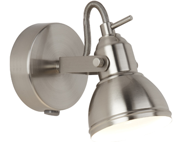 Searchlight Focus 1 Light Spotlight, Satin Silver Finish - 1541SS