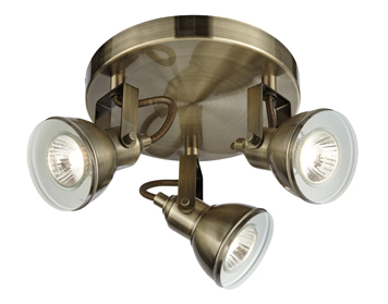 Searchlight Focus 3 Light Plate Spotlight, Antique Brass Finish - 1543AB