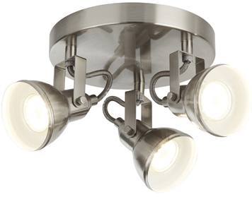 Searchlight Focus 3 Light Plate Spotlight, Satin Silver Finish - 1543SS