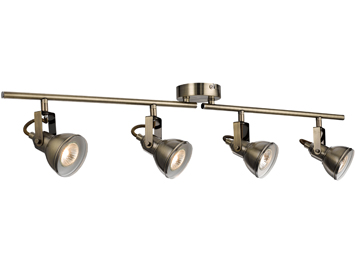 Searchlight Focus 4 Light Split Bar Spotlight, Antique Brass Finish - 1544AB