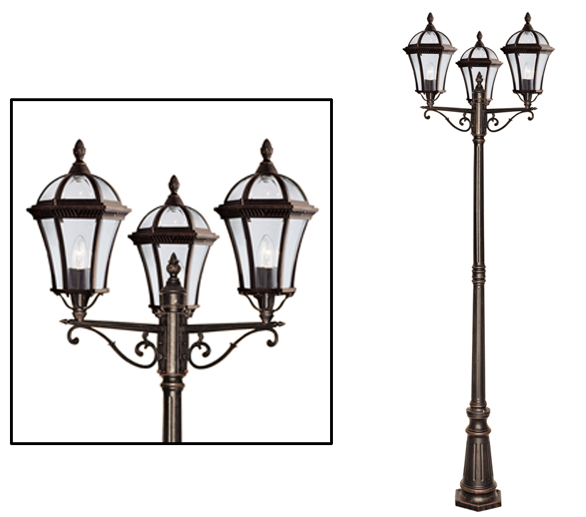 Searchlight Capri 2350mm 3 Light Outdoor Lamp Post Rustic
