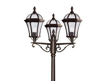 Searchlight Capri (2350mm) 3 Light Outdoor Lamp Post, Rustic Brown Finish - 1569-3