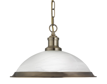 Searchlight Bistro 1 Light Ceiling Pendant Light, Antique Brass Finish With Acid Glass Shade - 1591AB