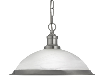 Searchlight Bistro 1 Light Ceiling Pendant Light, Satin Silver Finish With Acid Glass Shade - 1591SS