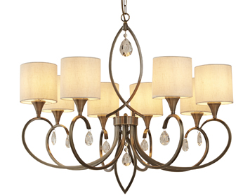 Searchlight Alberto 8 Light Pendant Ceiling Light, Antique Brass Finish With Linen Shades - 1608-8AB