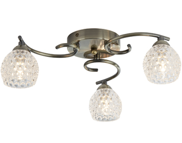 Searchlight Minnie 3 Light Flush Ceiling Light, Antique Brass Finish With Clear Dimpled Glass Shades - 1613-3AB