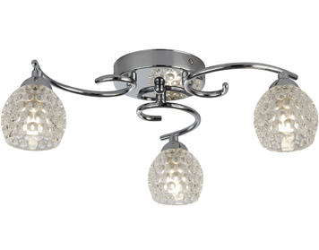 Searchlight Minnie 3 Light Flush Ceiling Light, Chrome Finish With Clear Dimpled Glass Shades - 1613-3CC