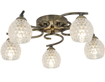 Searchlight Minnie 5 Light Flush Ceiling Light, Antique Brass Finish With Clear Dimpled Glass Shades - 1615-5AB
