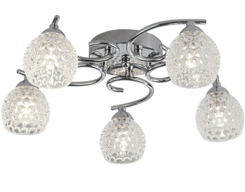 Searchlight Minnie 5 Light Flush Ceiling Light, Chrome Finish With Clear Dimpled Glass Shades - 1615-5CC